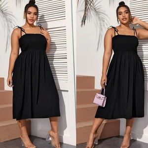 Black plus size tie shoulder shirred chest dress